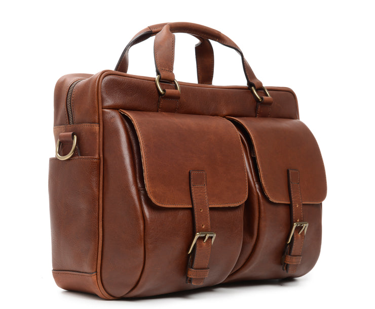 Chocolate Hover Leather Laptop Briefcase