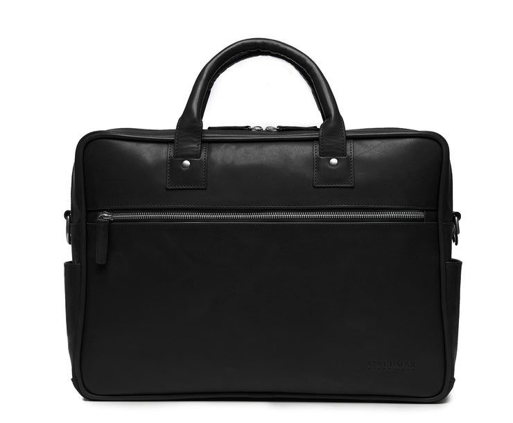 "Black 15"" Leather Laptop Briefcase Meticulously designed with full-grain leather, the Redford leather briefcase is a seamless blend of modern functionality and classic style. With two zippered compartments, multiple organizational pockets and a dedicated laptop compartment, the Redford is designed to protect your everyday essentials."