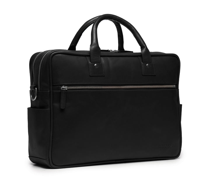"Black Hover 15"" Leather Laptop Briefcase"