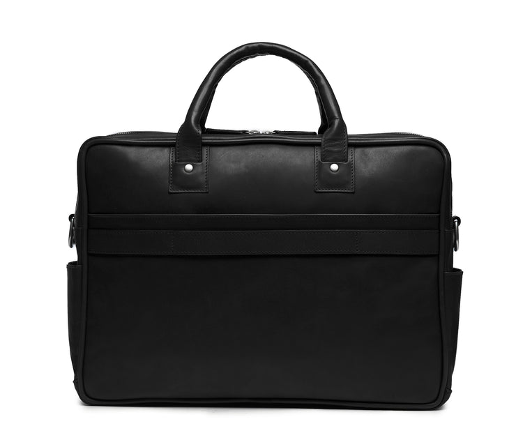 "Black Lightweight construction, handcrafted with American full-grain leather 2 main compartments Multiple organizational pockets, including a cell phone pocket, two additional exterior pockets, and an interior zippered pocket Reinforced roller bag attachment strap that lays flat when not in use Solid brass zipper and hardware with a nickel finish Dimensions: 16"" x 4.75"" x 12"""