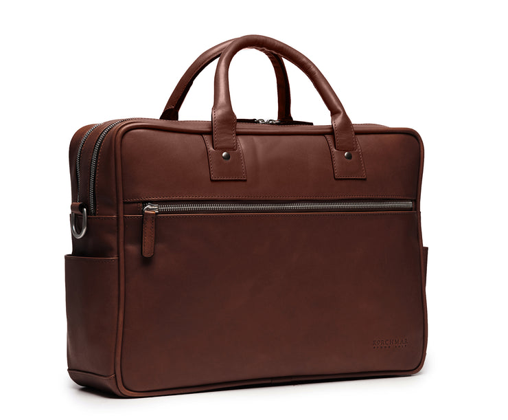 "Brown Hover 15"" Leather Laptop Briefcase"
