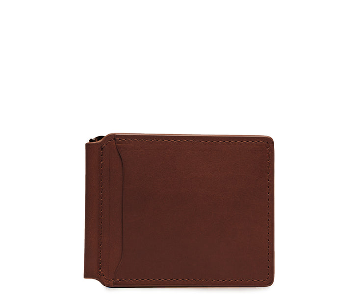 Brown Leather money clip billfold Slim but with just enough room for your cards and receipts, this refined leather double billfold is a sophisticated choice as your everyday wallet. Hancrafted with full-grain vegetable tanned leather, the Spencer will age beautifully and get better with time.