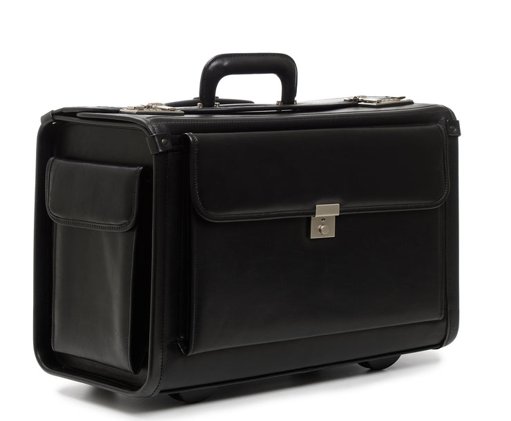 "Black Hover 18"" Wheeled Leather Catalog Case"