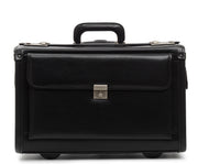 "Black 18"" Wheeled Leather Catalog Case The MobileMax is a handcrafted, full grain American leather wheeled catalog case. Featuring a convenient business organizer, expandable partitions, and deluxe wheels, the MobileMax can accommodate a large number of files and most 17"" laptops."
