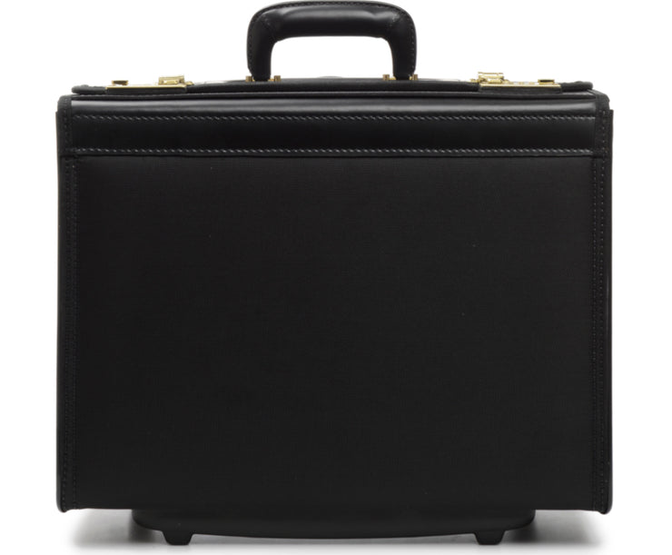 "Black 18"" Wheeled Catalog Case The Captain is a top-selling rolling catalog case that features a secure combination locking system, and is designed to accommodate a large volume of files and most 17"" laptops."