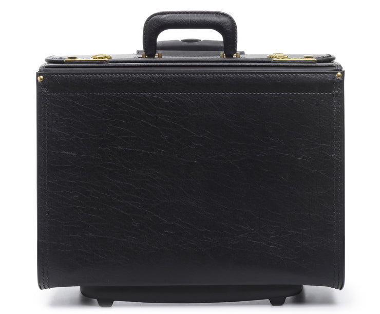 Black Vinyl Wheeled Catalog Case A top selling professional catalog case, the Defender is a durable and sleek solution for transporting a large volume of files. The Defender features a secure combination locking system, and is handcrafted using Marvelon vinyl.
