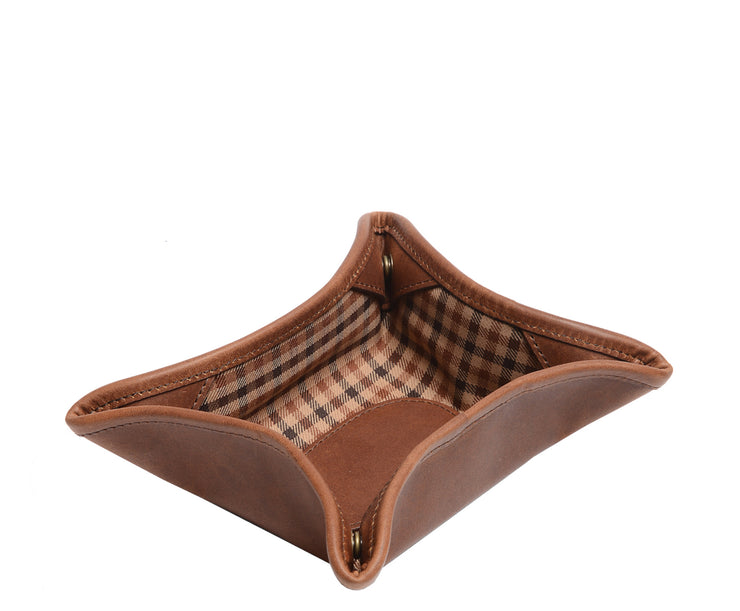 "Espresso Leather Change Tray Handcrafted in our USA factory, the Dunbar is an 8"" full grain leather change tray."