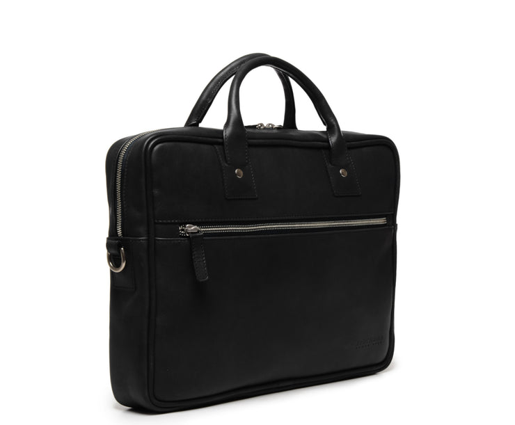 Black Hover Slim Leather Briefcase