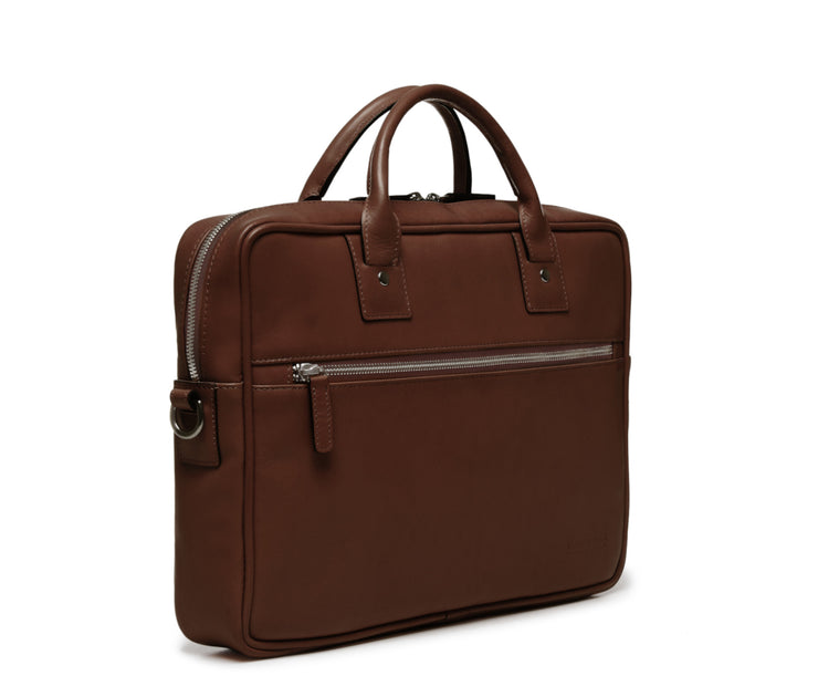 Brown Hover Slim Leather Briefcase