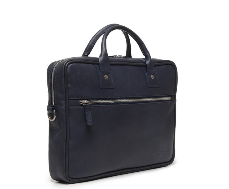 Ocean Blue Hover Slim Leather Briefcase