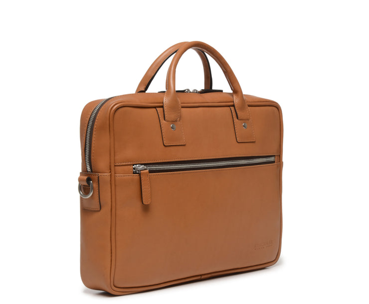 Tan Hover Slim Leather Briefcase