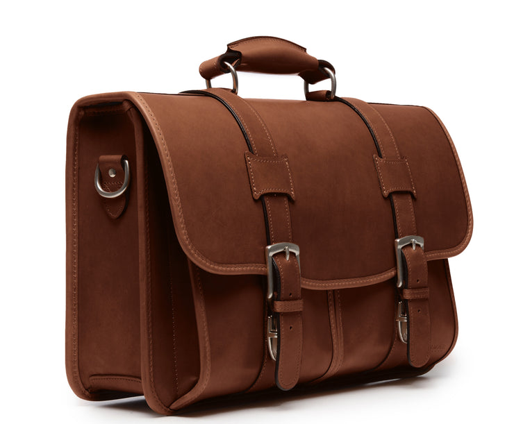 Brown Hover Leather Laptop Briefcase