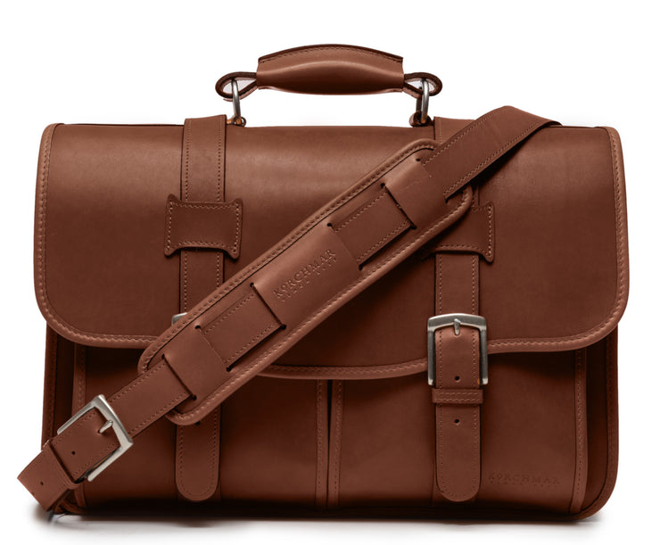 "Brown Exterior back pocket and zipped interior pocket Pillow soft padded leather handle Removable, adjustable shoulder strap with ergonomic pad Carry bag strap to slide over telescoping luggage handle Protective laptop compartment Handcrafted with care in our own factory Fits up to a 15"" laptop Dimensions: 16.5"" x 6"" x 13"""