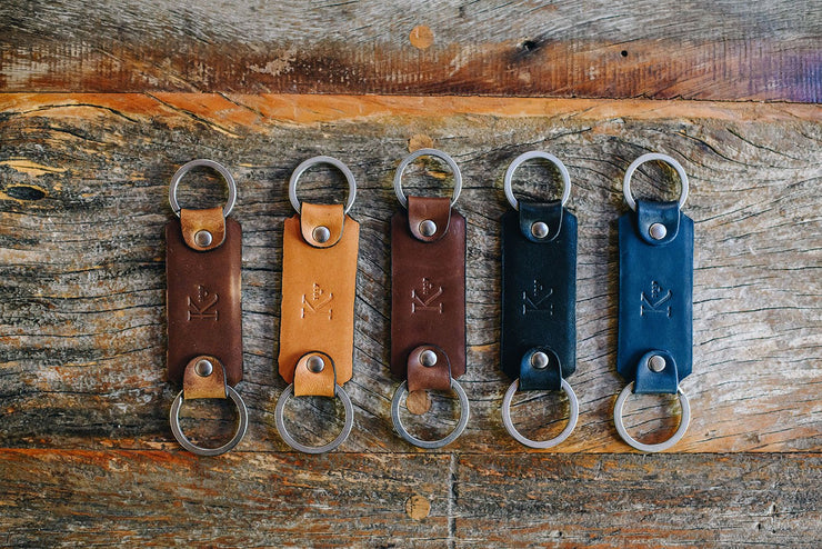 Full grain mill dyed American leather Steel key rings