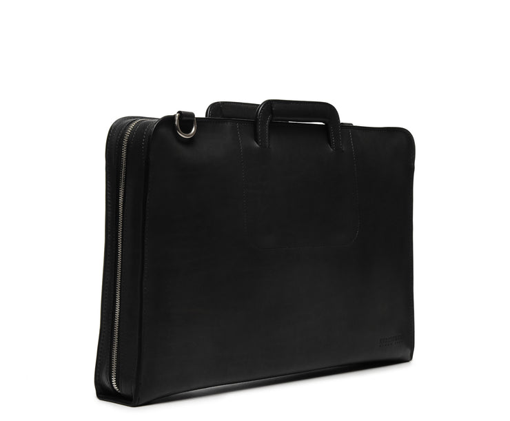 Black Hover Leather Zippered Briefcase