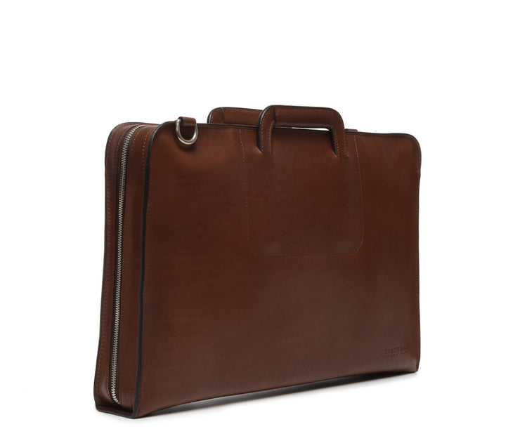 Brown Hover Leather Zippered Briefcase