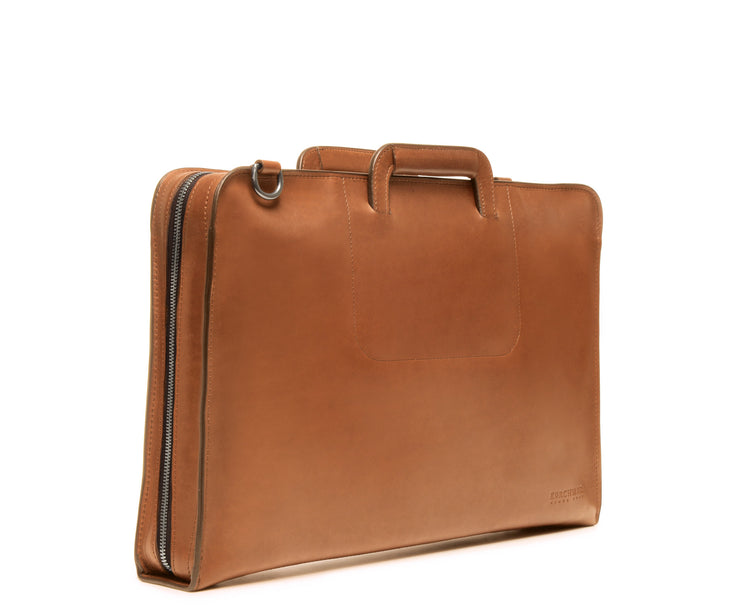 Tan Hover Leather Zippered Briefcase