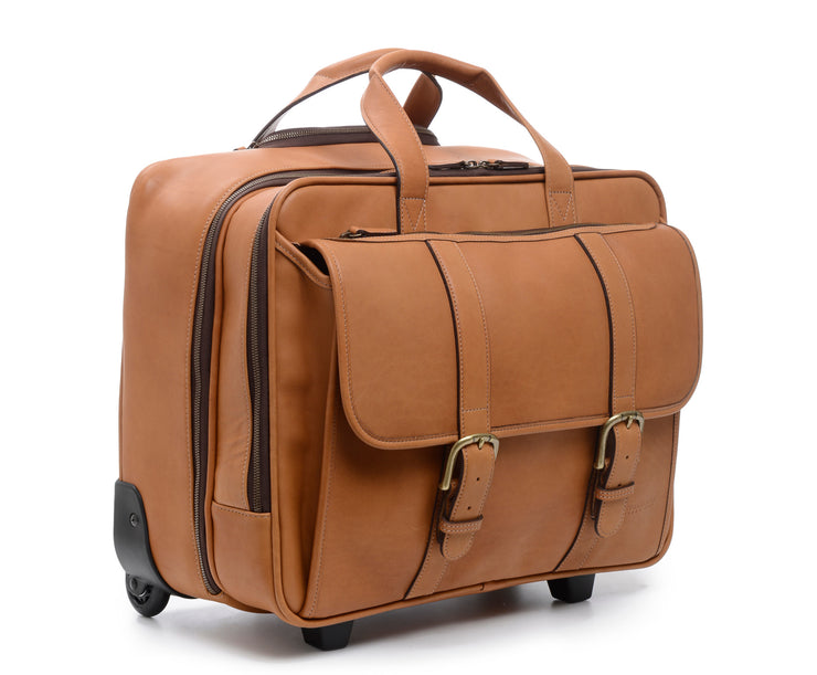 Tan Hover Wheeled Leather Travel Briefcase