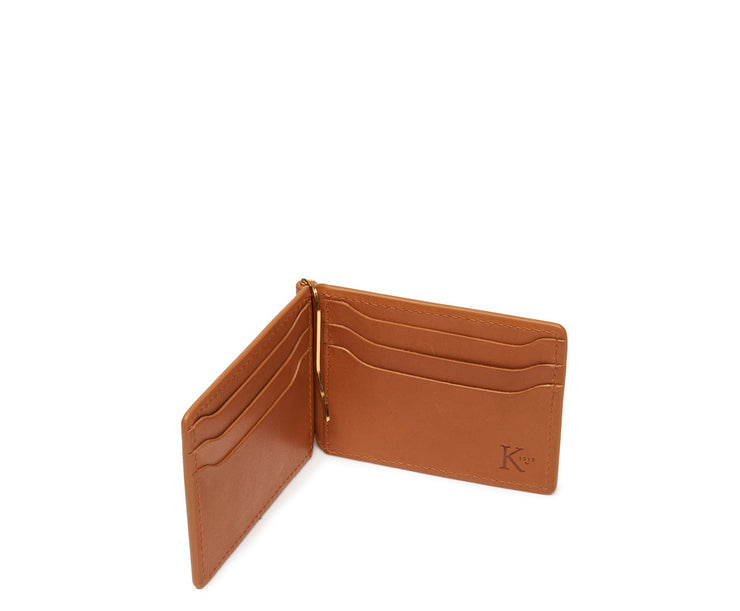 Tan Hover Leather money clip billfold