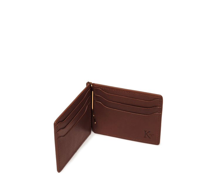 Brown Hover Leather money clip billfold