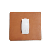 "Tan Full-grain American leather Backed with non-skid durable rubber mat Each mouse pad's selection is one-of-a-kind and slightly unique given the natural characteristics of the leather Handcrafted with care in our own factory Dimensions: 9"" H x 8"" W"
