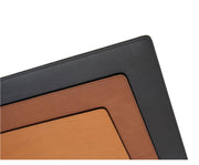 "Tan Full-grain American leather Backed with non-skid durable rubber mat Each placemat's selection is one-of-a-kind and slightly unique given the natural characteristics of the leather Handcrafted with care in our own factory Dimensions: 18"" W x 12"" H"