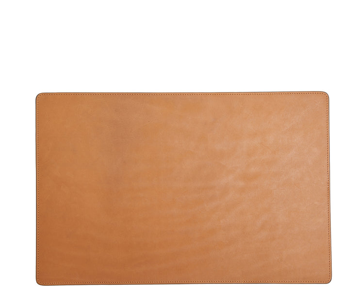 Tan Leather rectangular placemat Add elegance to your dining table with the Nash leather placemat. Available in three classic, neutral colors, the Nash leather placemat is backed with a non-skid durable rubber mat.