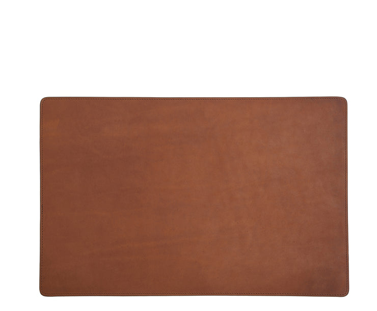 Espresso Leather rectangular placemat Add elegance to your dining table with the Nash leather placemat. Available in three classic, neutral colors, the Nash leather placemat is backed with a non-skid durable rubber mat.