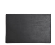 Black Leather rectangular placemat Add elegance to your dining table with the Nash leather placemat. Available in three classic, neutral colors, the Nash leather placemat is backed with a non-skid durable rubber mat.
