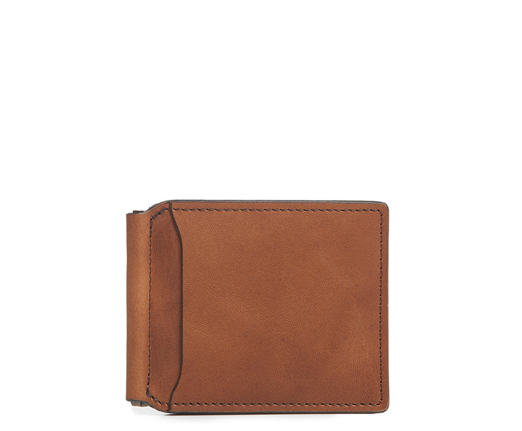 Espresso Leather money clip billfold Slim but with just enough room for your cards and receipts, this refined leather double billfold is a sophisticated choice as your everyday wallet. Hancrafted with full-grain vegetable tanned leather, the Spencer will age beautifully and get better with time.