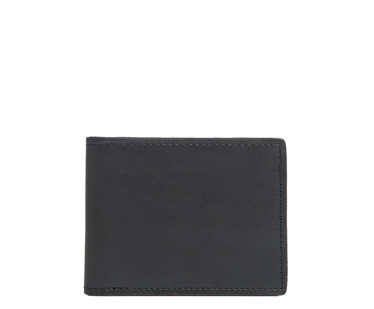 Black Slim leather wallet The York leather billfold is handcrafted with American full-grain leather and offers a slim minimalist profile. With six scalloped credit card pockets and a vertical stash pocket, the York is perfect for traveling light while keeping your cards and cash secure.