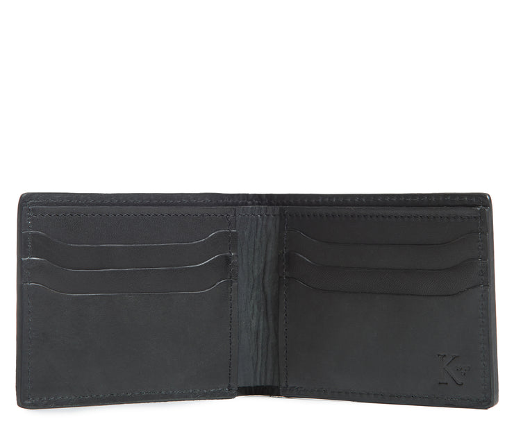 "Black Hover Slim leather wallet Handcrafted with American full-grain vegetable tanned leather Slim but full featured with 6 credit card pockets One vertical stash pockets Scalloped shape card slots to allow for easy card recognition All edges are hand burnished and inked Fully lined bill compartment for easy entry and exit of bills Dimensions: 3.5"" x .5"" x 4.5"""