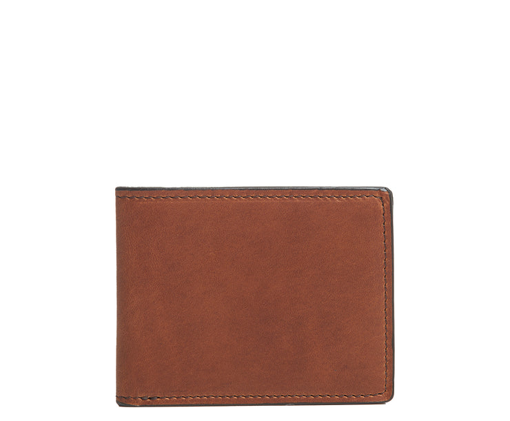 Brown Slim leather wallet The York leather billfold is handcrafted with American full-grain leather and offers a slim minimalist profile. With six scalloped credit card pockets and a vertical stash pocket, the York is perfect for traveling light while keeping your cards and cash secure.