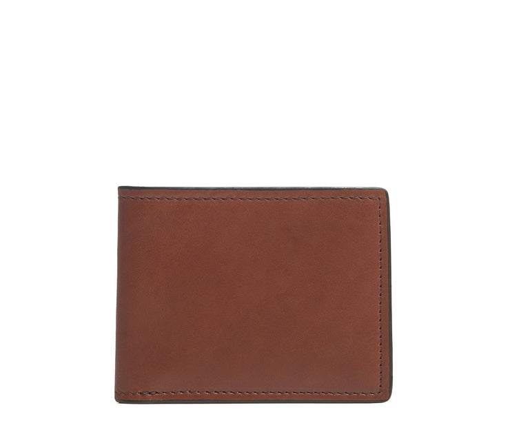 Espresso Slim leather wallet The York leather billfold is handcrafted with American full-grain leather and offers a slim minimalist profile. With six scalloped credit card pockets and a vertical stash pocket, the York is perfect for traveling light while keeping your cards and cash secure.