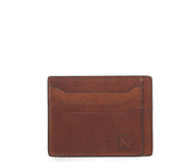 Espresso Slim leather wallet Handcrafted with full-grain vegetable tanned leather, this slim wallet is designed with simplicity and functionality in mind. Made to slip easily into back pockets, the Knox has six scalloped credit card slots and two vertical stash pockets.