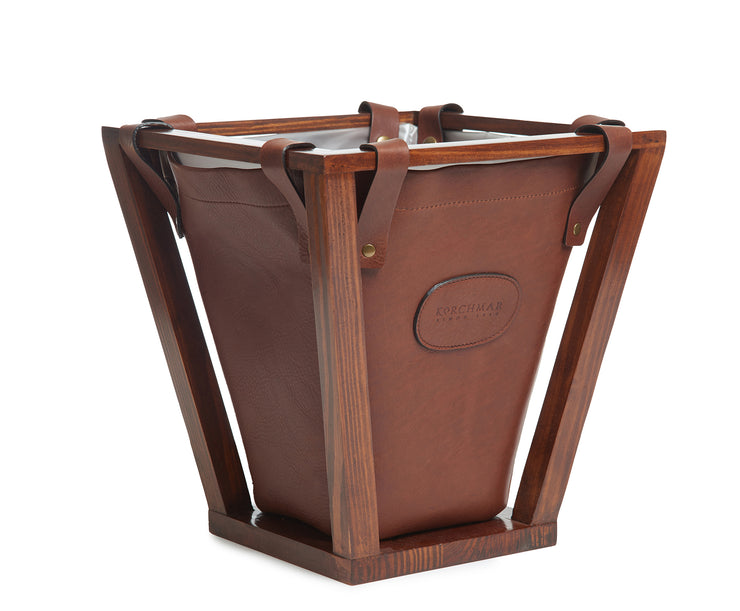 Chocolate Hover Leather wastebasket