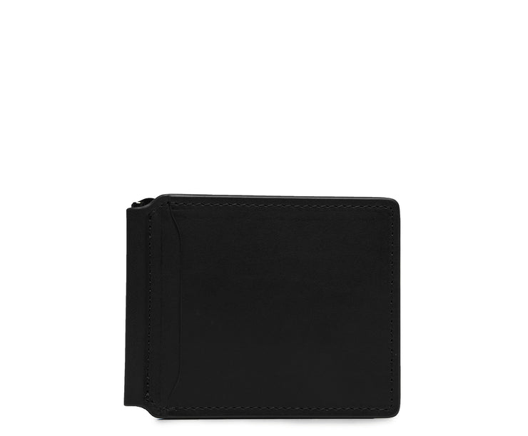 Black Leather money clip billfold Slim but with just enough room for your cards and receipts, this refined leather double billfold is a sophisticated choice as your everyday wallet. Hancrafted with full-grain vegetable tanned leather, the Spencer will age beautifully and get better with time.
