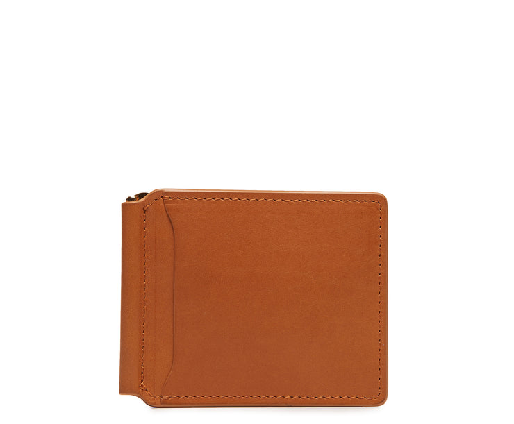 Tan Leather money clip billfold Slim but with just enough room for your cards and receipts, this refined leather double billfold is a sophisticated choice as your everyday wallet. Hancrafted with full-grain vegetable tanned leather, the Spencer will age beautifully and get better with time.