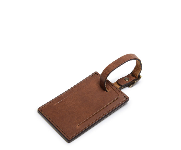 Espresso Leather Luggage Tag
