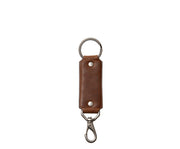 "Espresso Hover Full-grain mill dyed American leather Steel key ring Brass swivel snap hook Handcrafted with care in our own factory Dimensions: 5.75"" x 1.25""    FREE Monogramming up to 3 letters."