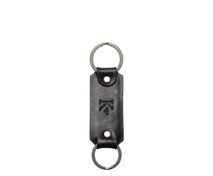 Black Leather Double Loop Key Chain