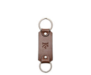 Brown Leather Double Loop Key Chain