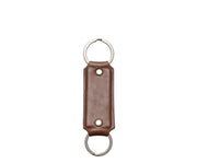 "Brown Hover Full grain mill dyed American leather Steel key rings Handcrafted with care in our own factory Dimensions: 5"" x 1.25"""