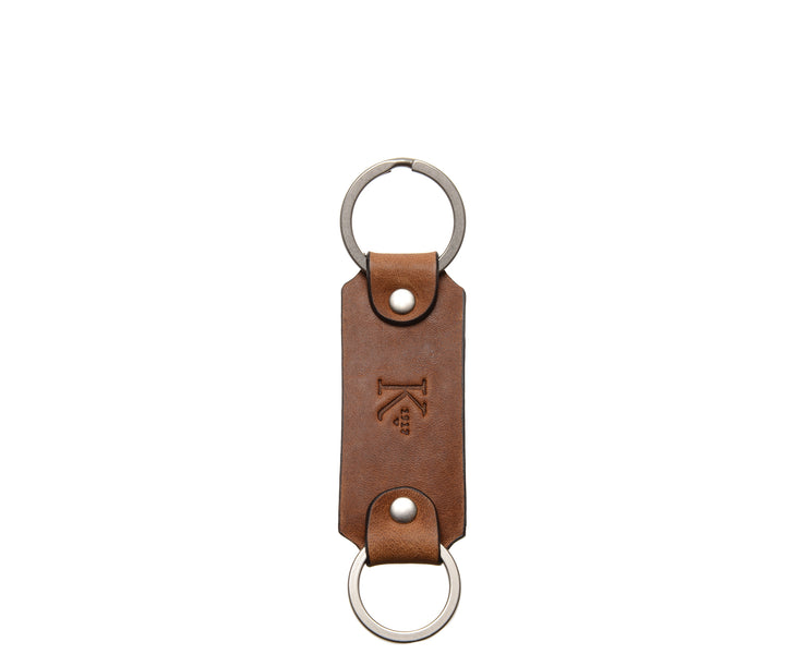 Espresso Leather Double Loop Key Chain