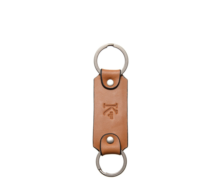 Tan Leather Double Loop Key Chain