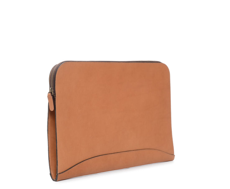 Tan Hover Zippered Leather Envelope