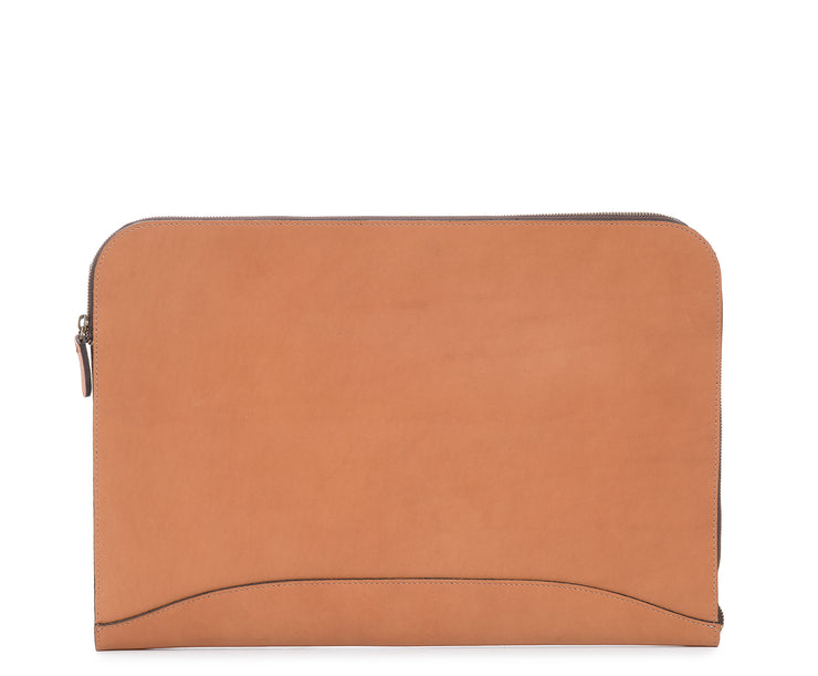 Tan Zippered Leather Envelope The Grant leather envelope is handcrafted with rich oil-tanned leather, and is designed to protect papers and files.