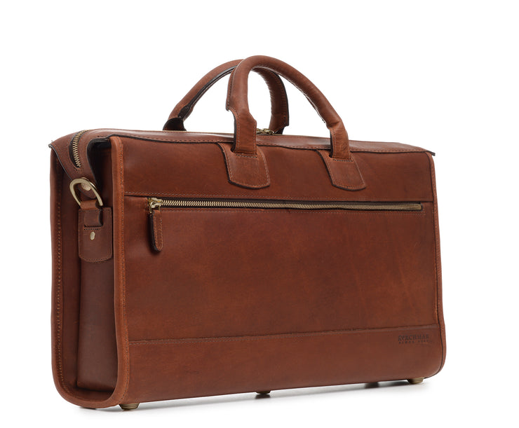 Espresso Hover Slim Leather Laptop Briefcase
