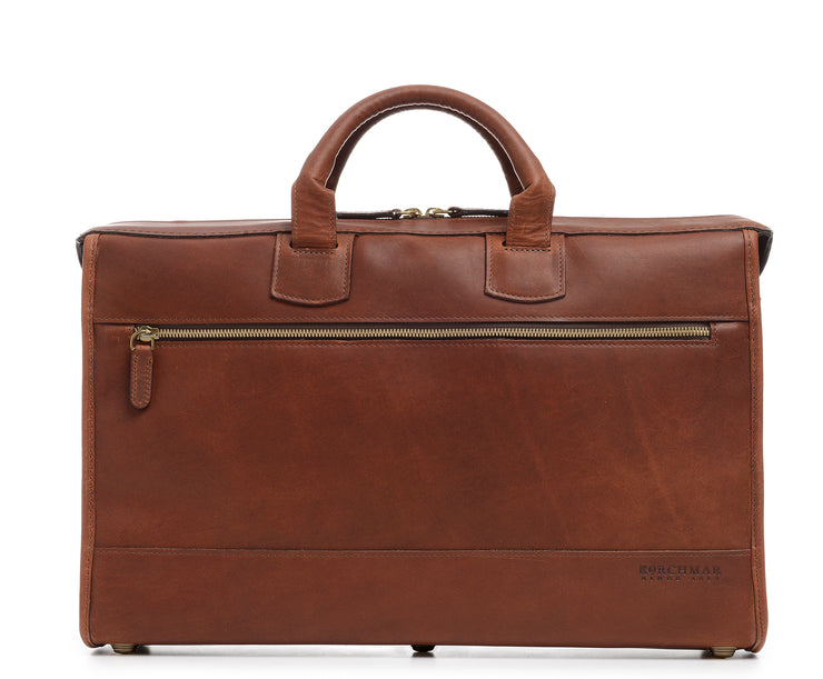"Espresso Slim Leather Laptop Briefcase The Sawyer's slim, refined silhouette make it perfect for carrying most 15"" laptops and small personal items. Carry it by hand or over the shoulder with the included removable, adjustable shoulder strap. The Sawyer is handcrafted with full-grain leather."