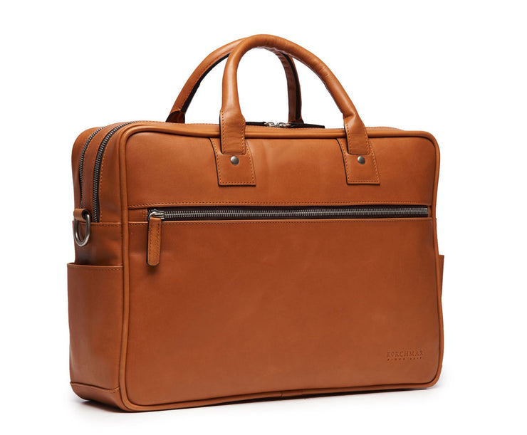 "Tan Hover 15"" Leather Laptop Briefcase"